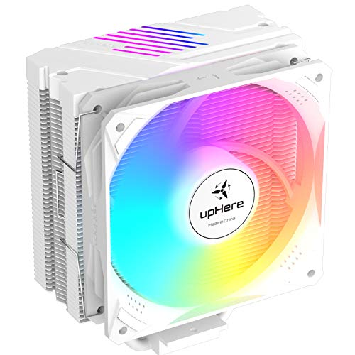 upHere 5 Heatpipes Sync 5v 3pin ARGB LED 120mm PWM Ventilador de CPU Gaming Fan Refrigerador para Intel & AMD,Blanco LGA 1151 1150 1156 1200 AM4