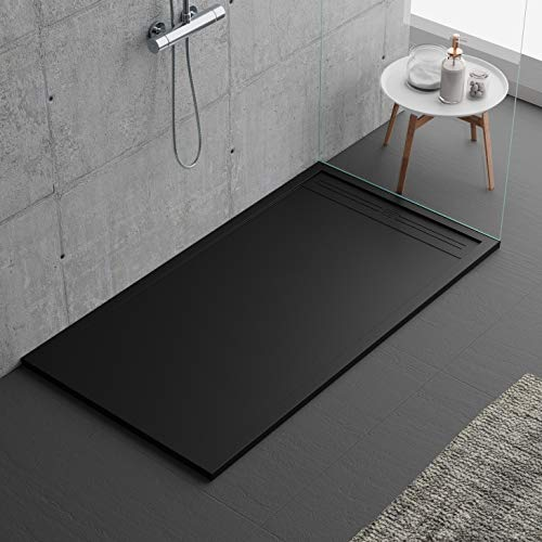 Plato de ducha negro, diseño moderno, modelo Oviedo, de piedra mármol y resina con efecto pizarra, luxury, gelcoat, slim 3 cm (70 x 170)