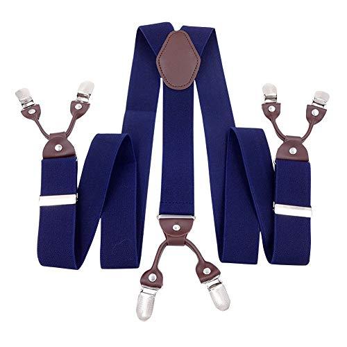 Panegy Herren Hosenträger Y-Form Stil 6 Stabile Clips 3.5cm Breite Retro Knopf Männer Hosenträger mit Leder Elastisch und Längenverstallbar - Blau