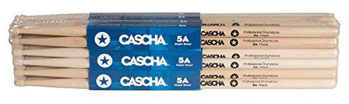 CASCHA Professional Schlagzeugsticks 5A robuste Ahorn Sticks I Trommelstöcke Holz I Profi Schlagzeug Zubehör I Drumsticks Maple I Schlagzeugstöcke I Trommelsticks Holzkopf Modell 12 Paar (24 St.)