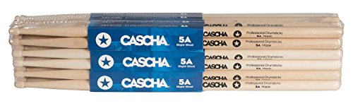 CASCHA Professional Drumsticks 5A Maple, 12 Pair (24 Pieces), Drum Kit Accessories, Drum Sticks with Wooden Tip