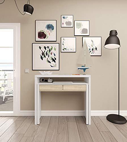PEGANE Console Extensible Coloris Blanc et chêne - Dim : 88 x 99 x 36 cm