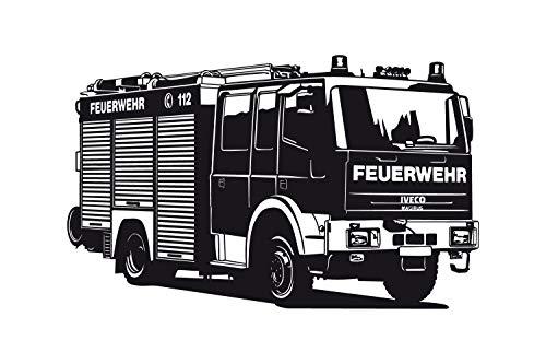 universumsum Wandtattoo Feuerwehr Truck uss278 Wandaufkleber Wandsticker Kinderzimmer 100 x 60 schwarz