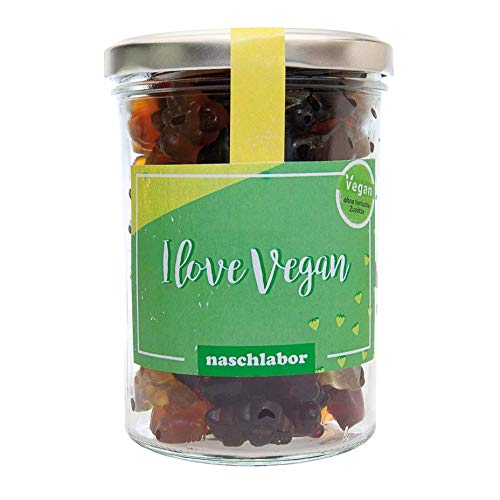 I Love Vegan Fruchtgummis von Naschlabor - Als veganes Geschenk für Freunde, für die Couch zum Naschen oder to Go - Vegan, Vegetarisch und Gelatinefrei