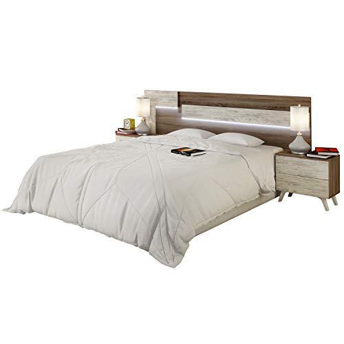 duehome HomeSouth - Cabezal con Led para Cama de Matrimonio, cabecero Modelo Lica Led, Color Trufa y Cañon Blanco, Medidas: 200 cm (Ancho) x 55 cm (Alto) x 3 cm (Fondo)