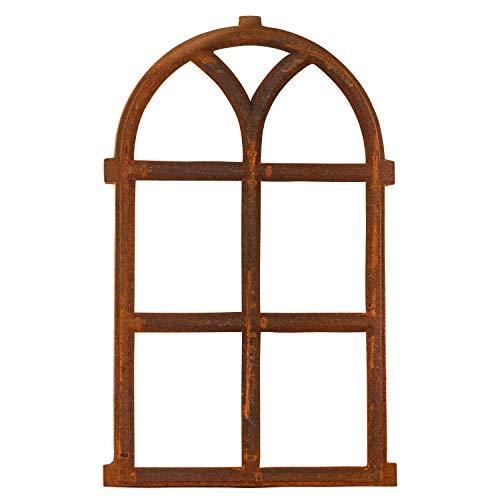 aubaho Fenêtre à barreaux - Fer forgé/Rouille - Style Antique - 68x 40 cm