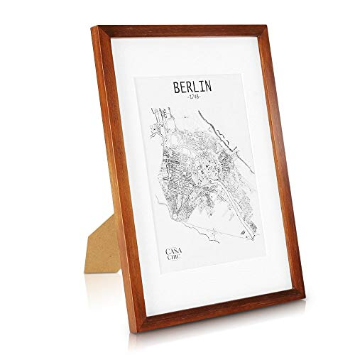 Classic by Casa Chic - Echtholz Bilderrahmen A3 - rustikales Braun - mit DIN A4 Passepartout - Plexiglas - Rahmenbreite 2cm