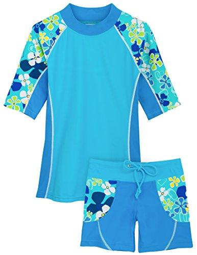 Tuga Girls UPF 50+ Seaside S/S Rash Guard and Swim Short (UV Sun Protective)
