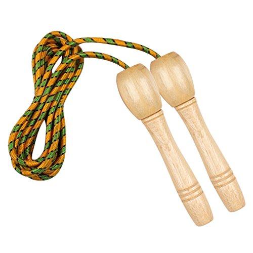 ANGTUO Cotton Rope Skipping, Trainingsseil mit Gewinde Holzgriff für Erwachsene