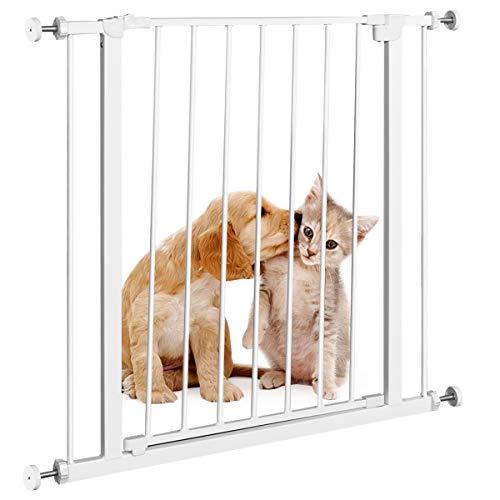 GOPLUS Schutzgitter, Treppenschutzgitter Befestigung ohne Bohren mit Doppelseitiger-Öffnung, Türschutzgitter für Kinder Hunde Haustiere, Klemmgitter Metall Selbstschließend für Treppen und Küchen