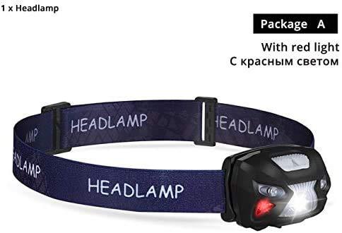 HSZH Mini wiederaufladbare LED-Scheinwerfer Körper Bewegungssensor LED Fahrradscheinwerfer Lampe Outdoor Camping Taschenlampe mit USB-Anschluss mit rotem Licht-a