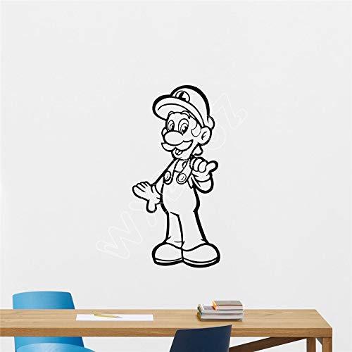 WERWN Super Mario Luigi calcomanía Videojuego Vinilo Adhesivo Sala de Juegos decoración del hogar habitación Infantil Dibujos Animados 58 x 121 cm