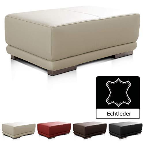 CAVADORE Lederhocker Corianne / Rechteckiger Fußhocker in Echtleder / 103 x 41 x 69 / Echtleder weiß