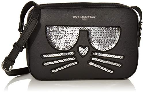 Karl Lagerfeld Paris Damen MAYBELLE CHOUPETTE CAMERA CROSSBODY Umhängetasche, Schwarze Pailletten, Einheitsgröße