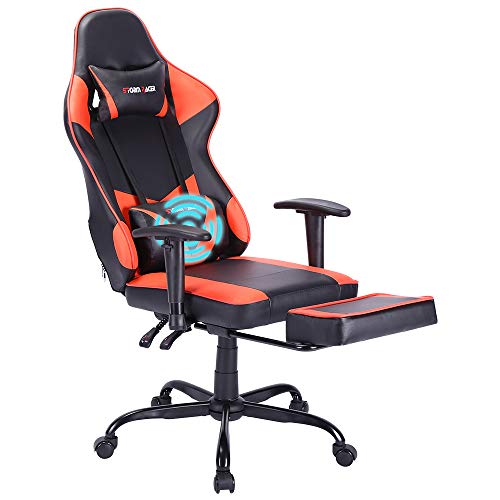 Gank Gaming Chairs High Back Computer Chair of Professional Racing Style Comfortable Gamer Chair with Footrest and Massage Backrest and Lumbar Pillows (Red)