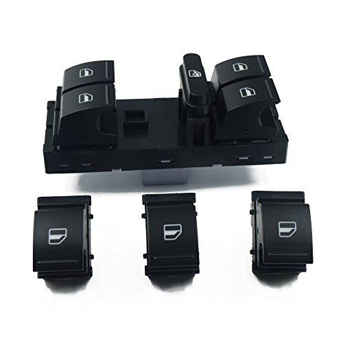 LINMAN Conjunto de interruptores de Ventana, Compatible con Volkswagen VW Jetta Golf 5 6 Touran Tiguan Caddy Passat B6 B7 CC Polo Seat Alharmbra