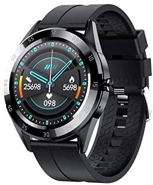 MKLI Smart Bluetooth-Uhr mit Herzfrequenz, Blut Sauerstoff und Blutdruckmessgerät, Geeignet für Android und iOS,Black