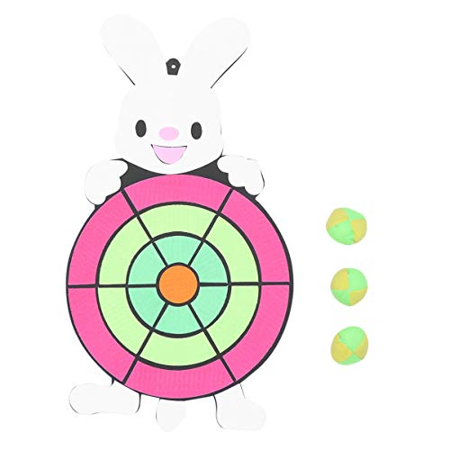 PRETYZOOM Kinder Dartscheibe Klettballspiel Fangballspiel Ballspiel Set mit 3 Bälle Dartboard für Kinder Outdoor Sport Spielzeug Gartenspielzeug(Hase)