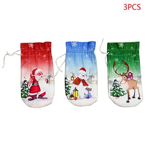 Qintaiourty Beutel für Weinflaschen, Schneemann, Weihnachtsmann, Hirsch, Weihnachten, Party, Zuhause, Esszimmer, Dekoration, 3 Stück
