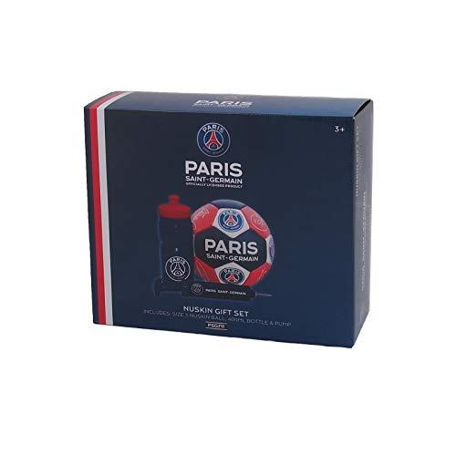 Paris SaintGermain F.C. PSG Official Soccer Gift Set Size 3 Crest Football Waterbottle & Pump