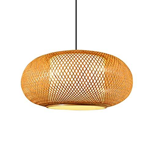 WANGYAN Linterna De Tejido Bambú Retro Estilo Chino Lámpara De Araña RedondaEstilo Japonés Colgante Arte Bambú Natural Antiguo para Restaurantes, Clubes, Accesorios Iluminación Techo De Arte Ratán