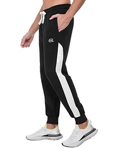Sykooria Herren Jogginghose Trainingshose 100% Baumwolle Fitness Hosen Sweatpants Jogger Männer Mode Kontrast-Stripes Schwarz, XXL