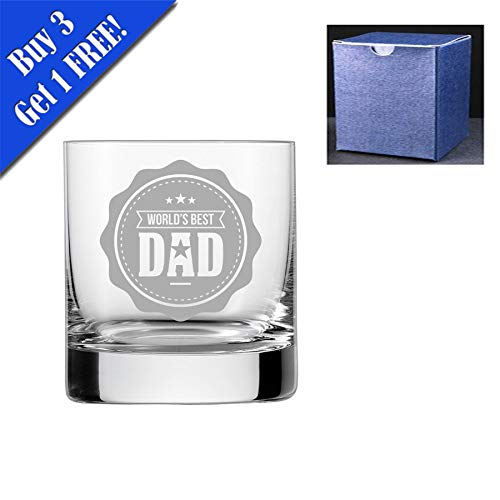 fantaisie Verre à whisky – Worlds Best Dad, Engraved, Do Not Engrave A Message On The Reverse Side