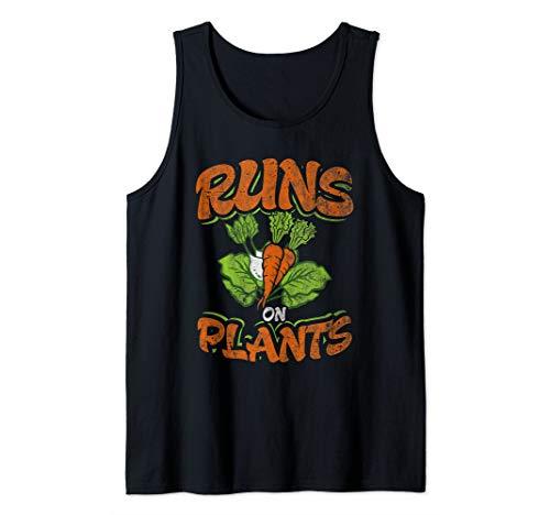 Runs On Plants Juicer Green Vegetable Healthy Vegetarian Tank Top