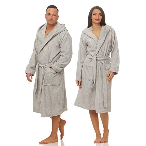 Class Home Collection Unisex Damen Herren Frottee Baumwolle Kapuze Bademantel Silber Gr. L