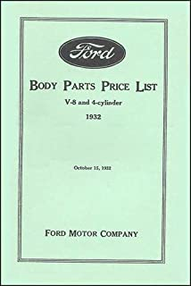 Ford Body Parts Price List V-8 and 4-cylinder 1932
