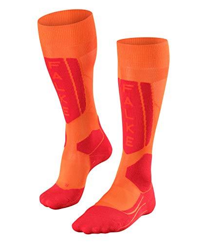 FALKE Damen Skisocken SK5, Ski Kniestrümpfe mit Seide, Skistrümpfe zum Skifahren, Schnelle Rücktrocknung, Antiblasen, 1 er Pack, Orange (Flash Orange 8034), Größe: 35-36