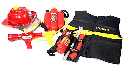 24costumes XXL 8-teiliges Feuerwehr Set | Helm, Wasser-Spritze mit Tank, Warn-Weste, Taschenlampe, funktionsfähiger Feuerlöscher, Axt, Stemmeisen, Gürtel