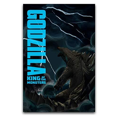 LANMPU Godzilla - Poster decorativo su tela, decorazione da parete, corridoio, corridoio, caffè, bagno, 30 x 45 cm