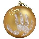 Baby Art My Christmas Fairy Pallina di Natale in Plastica, Decorazione Natalizia Albero Natale, con Kit Impronta, Colore Oro