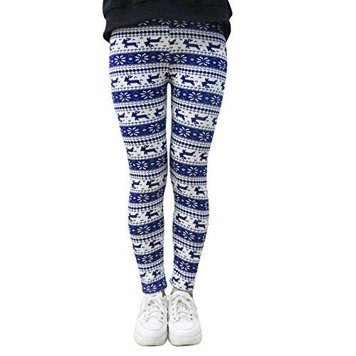 YFPICO Mädchen Winter Druck Fleece Gefüttert Leggings Kinder Winter Warm Kids Tights Pants Warm Leggins Dicke Hosen, J, 146