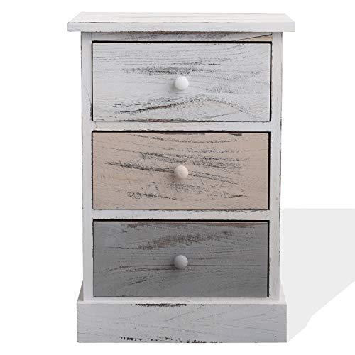 Rebecca Mobili Cassettiera decape, comodino con 3 cassetti, legno di paulonia, bianco beige grigio, stile retro, camera bagno - Misure: 54 x 37 x 27 cm (HxLxP) - Art. RE4263