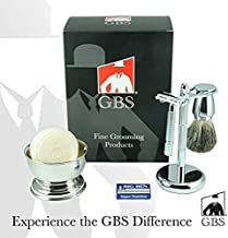 Men's Wet Shaving Kit - GBS Gentleman Shave Like A Boss Butterfly DE Safety Razor, Badger Brush, Shaving Bowl, Shave Soap, Stand + DE Blades - 6 PC Classic Vintage Set Great Gift Christmas
