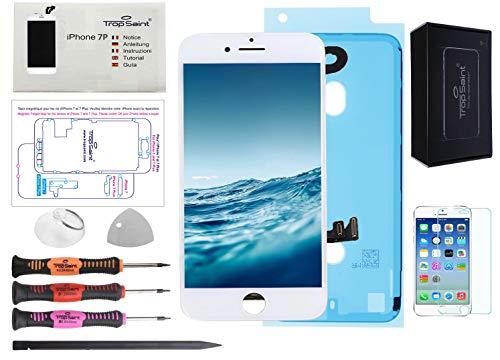 Trop Saint® Pantalla Blanco para iPhone 7 Plus Completa Premium Kit de reparación LCD con Guía, Herramientas, Vidrio Templado y Pegatina Adhesiva Impermeable