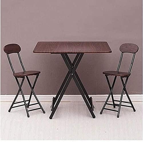 折りたたみテーブル&チェアセット Probasto ダイニングテーブル 約80×80×74cm 折りたたみチェア パイプ椅子 幅25×奥行32×高さ77cm 組み立て不要 完成品 食事 作業 在宅勤務(3点セット)