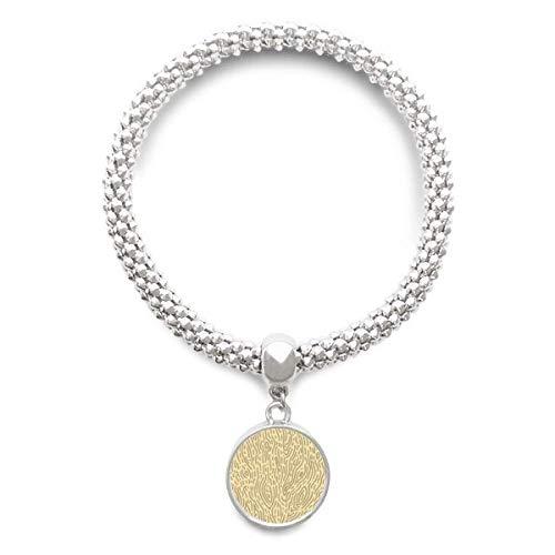 DIYthinker Womens gele patronen schors vingerafdruk Sliver armband ronde hanger sieraden ketting