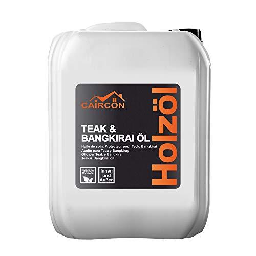 Teak & Bankirai Holzöl Farblos für Innen und Außen Terrassenöl Gartenmöbelöl Pflegeöl Teakholz Pflege Hartholzöl Teaköl Bankiraiöl 5L