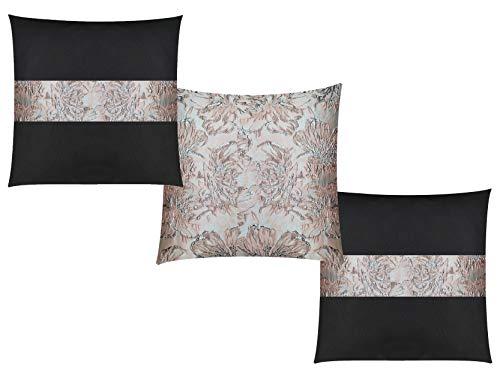 GIACALLON - Confezione da 2 o 3 Federe Cuscini Divano Ecopelle e Broccato 40x40 cm - Fatte a Mano - Copricuscini rosa nero grigio misure personalizzabili 50x50