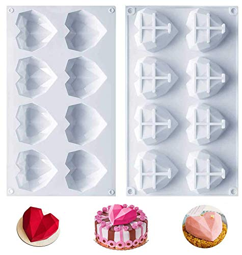 Moldes silicona reposteria,Moldes silicona,Molde corazon 8 cavidades 3D,Antiadherente Molde silicona horno,Aplicar para Muffins,Pastel,Jabón,Gelatina, Pastelería.