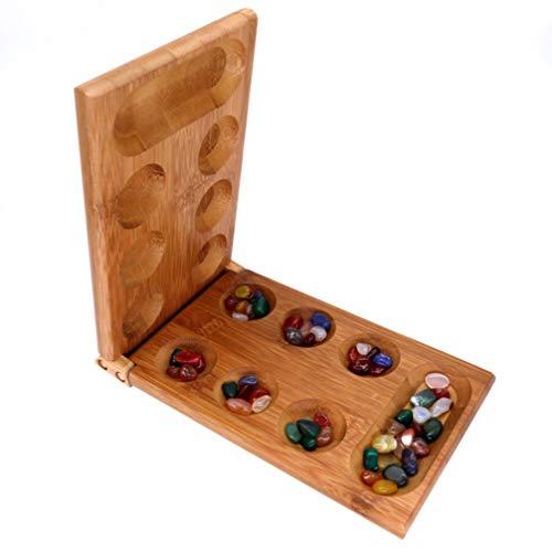 NUOBESTY Holzklapp Mancala Brettspiel mit Edelsteinen afrikanischen Steinspiel Familienspiel
