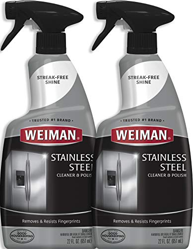 Weiman Stainless Steel Cleaner and Polish - 22 Ounce (2 Pack) - Protects Appliances from Fingerprints and Leaves a Streak-Free Shine for Refrigerator Dishwasher Oven Grill etc - 44 Ounce Total