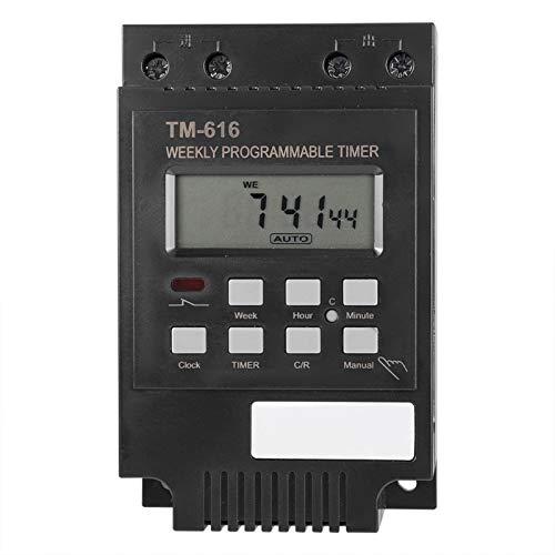 Niiyen Temporizador Digital, Temporizador de Interruptor de Control Inteligente programable Duradero eléctrico con Pantalla de luz de Fondo para Tablero de Publicidad(220V TM616B-2-Negro)