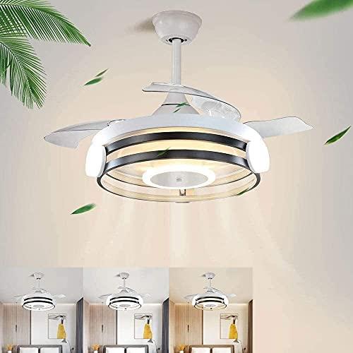 Ventilador de techo Iluminación Control remoto, 3 velocidades ajustables, 3 CAMBIO DE COLOR FAN DIMMABLE, MOTOR DE LUZ DE 30W Y 58W CON TEMPORIZADOR, TEMPORIZADOR para sala de estar (Color: B) Menghey