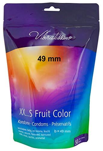 AMOR Vibratissimo 49mm Markenkondome, 50 Stück schlanke Kondome, farbig und aromatisiert