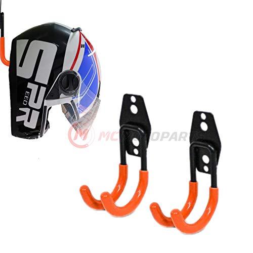 MC MOTOPARTS Orange Wall Mount Helmet Half Full Shield Helmet Hook Holder x2 Small Double Iron Curved Hook Tools
