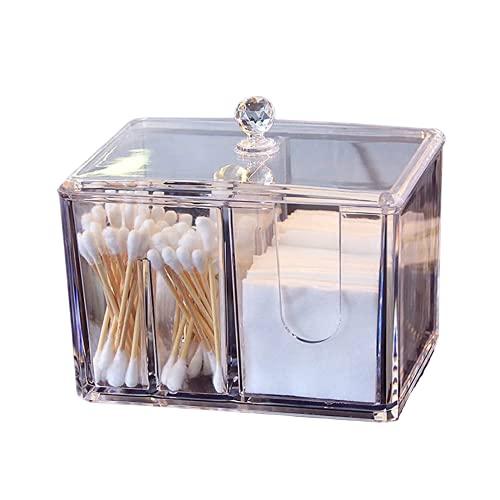 SPINSM Qtip Support carré en acrylique transparent avec 4 compartiments pour cotons-tiges, tampons de maquillage, cosmétiques